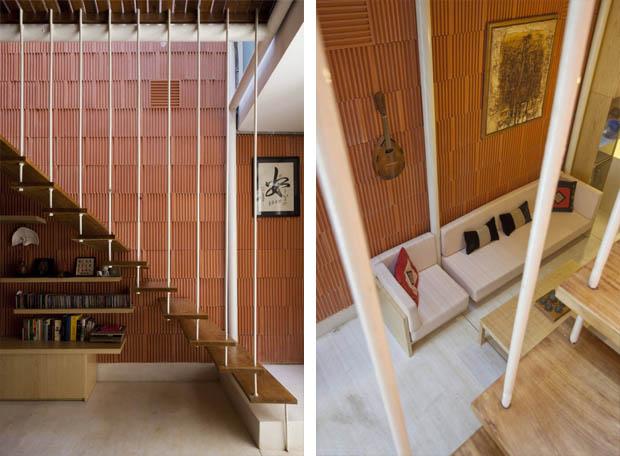 บันไดบ้านแบบแขวน ไอเดียพื้นที่ใต้บันได
