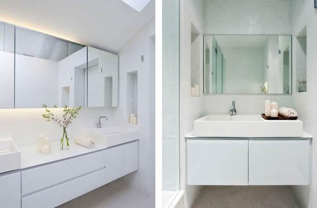 อ่างล้างหน้า แต่งห้องน้ำสีขาว