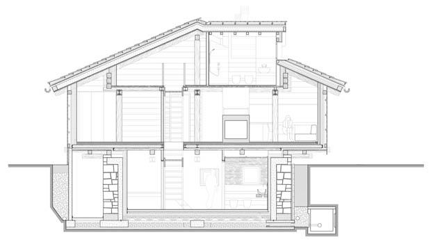 โครงสร้างบ้าน แปลนบ้านไม้ มีชั้นใต้ดิน