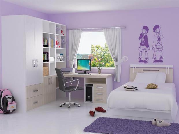แต่งห้องนอนน่ารัก สีม่วง ขาว