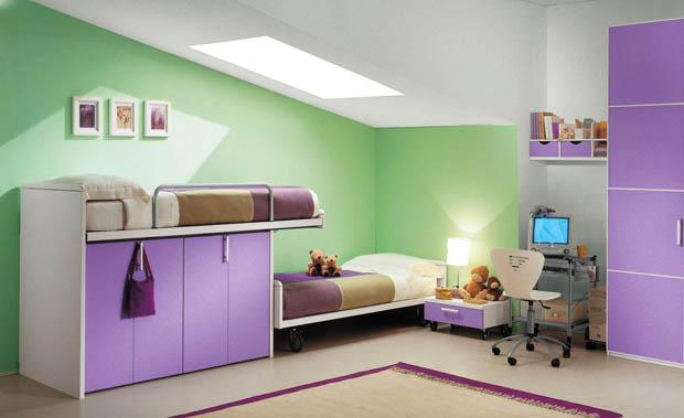 แต่งห้องนอน สีม่วง ตัด เขียว