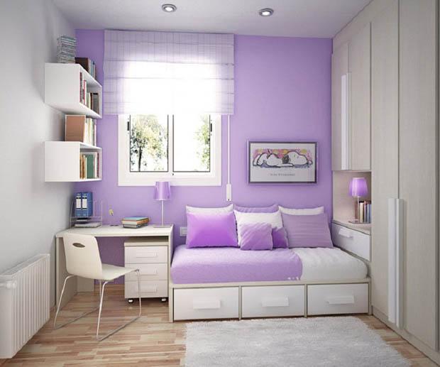 เตียงนอนมีลิ้นชัก ผนังห้องนอนสีม่วง