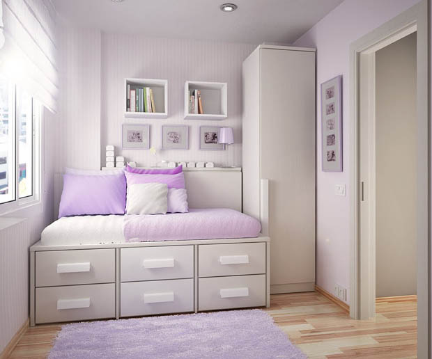 แต่งห้องนอนสีม่วง ขาว