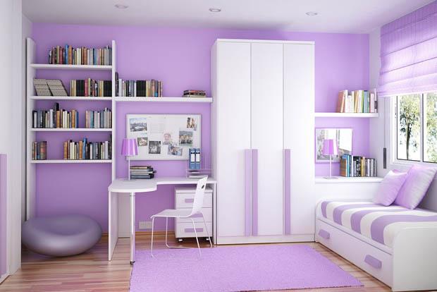 ตัวอย่างภาพห้องนอน สีม่วง ขาว