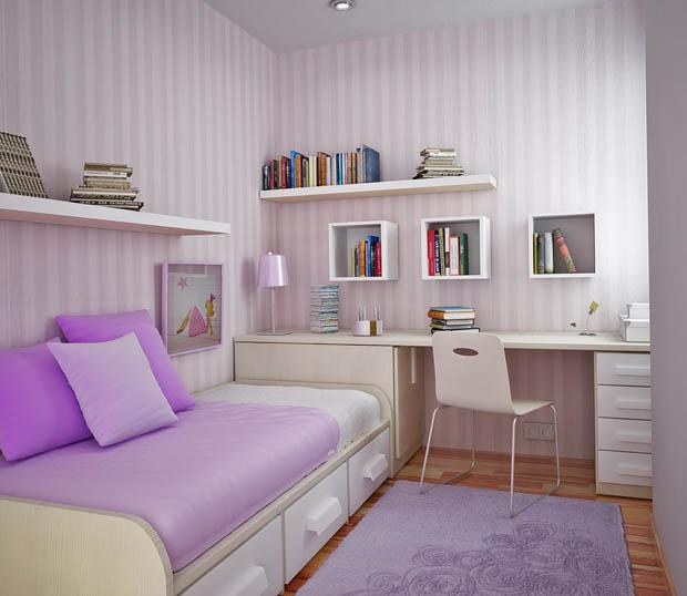 ตกแต่งห้องนอนขนาดเล็ก สีม่วง