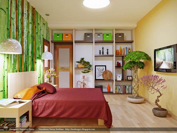 ผนังห้องนอน หัวเตียง เพ้นส์ภาพธรรมชาติ