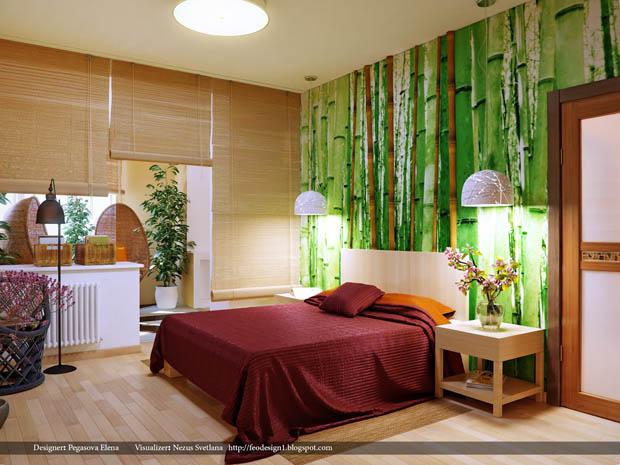 ม่านม้วน ม่านไม้ไผ่ ม้วนขึ้นลงได้ สำหรับห้องนอน