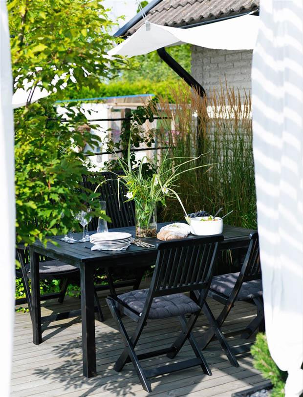 โต๊ะ เก้าอี้ไม้ สำหรับจัดสวน สีดำ