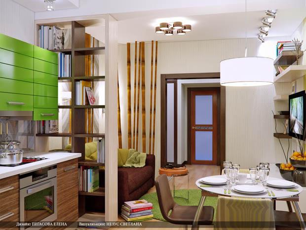 ห้องครัวสีเขียวสดใส