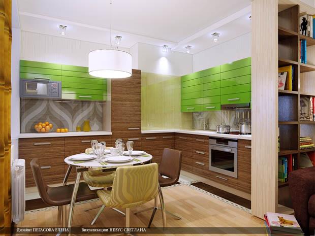เคาเตอร์ห้องครัวสีเขียวสด