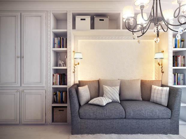 แบบโซฟาสีเทาในห้องนั่งเล่น