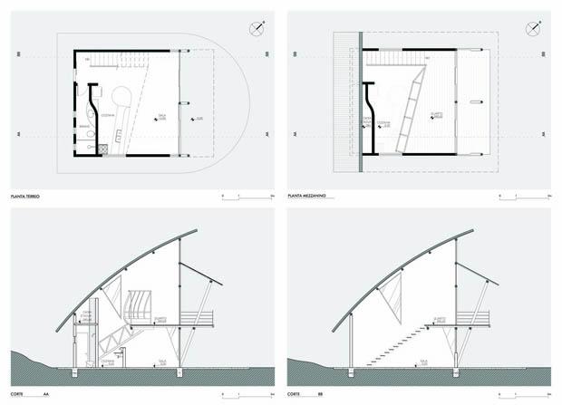 แปลนบ้าน ออกแบบหลังคาโค้ง
