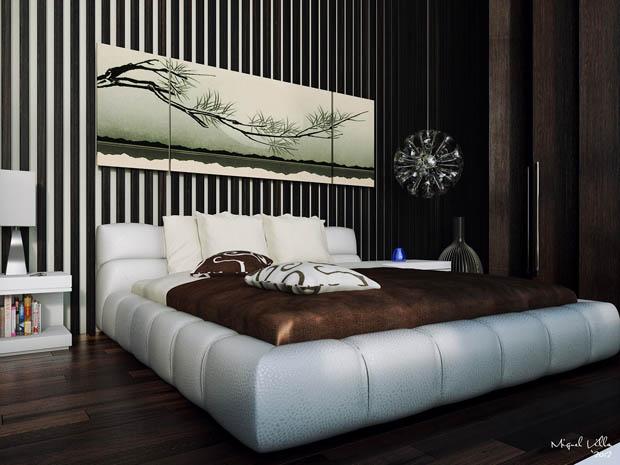 แบบเตียงนอนสีขาว