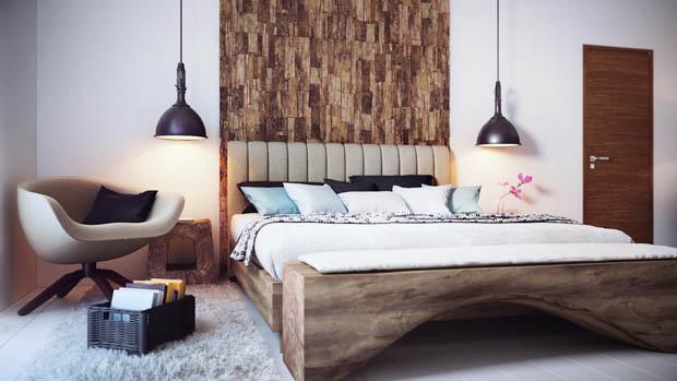 หัวเตียงด้วยเปลือกไม้