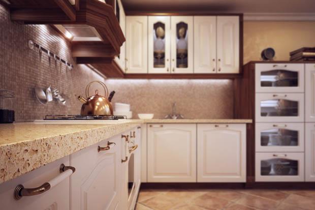 แบบเคาเตอร์ครัวไม้สีขาว
