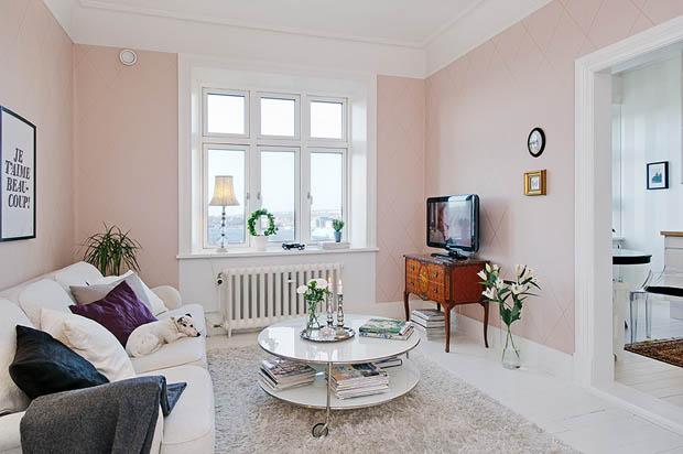 แบบห้องนั่งเล่นสีชมพู