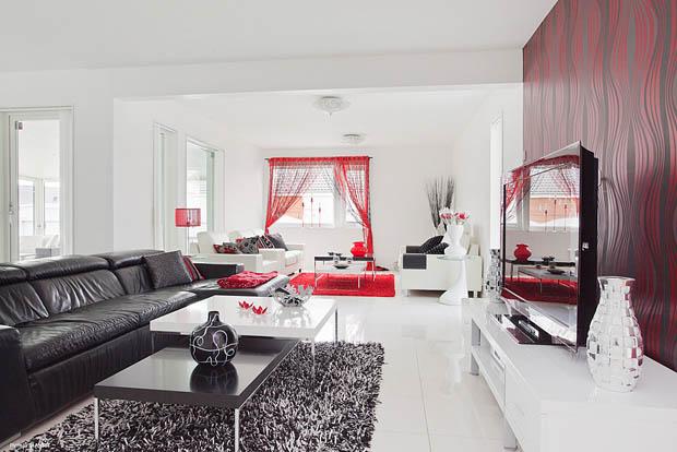ตกแต่งห้องนั่งเล่นสีขาว-แดง