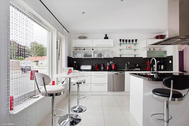 แต่งห้องครัวสีขาว-ดำ