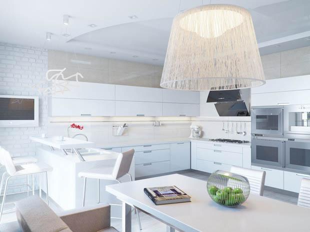การตกแต่งห้องครัวด้วยสีขาว