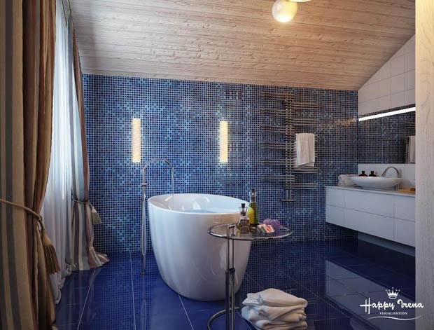 กระเบื้องห้องน้ำสีน้ำเงินแววๆ