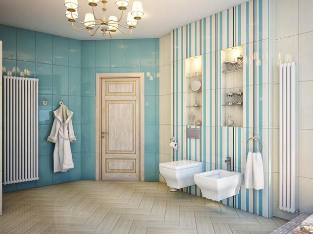 ผนังห้องน้ำสีฟ้าลายขวาง