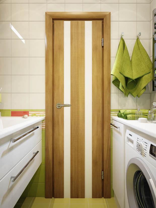 ตกแต่งห้องน้้ำแคบๆด้วยสีเขียว