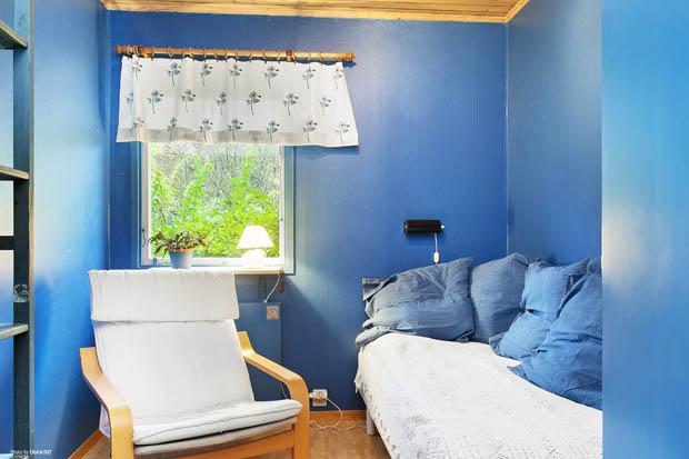 ห้องนอนทาผนังสีน้ำเงิน