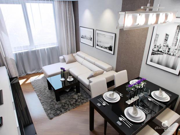 แบบห้องครัวและห้องนั่งเล่นตกแต่งสีขาวดำ