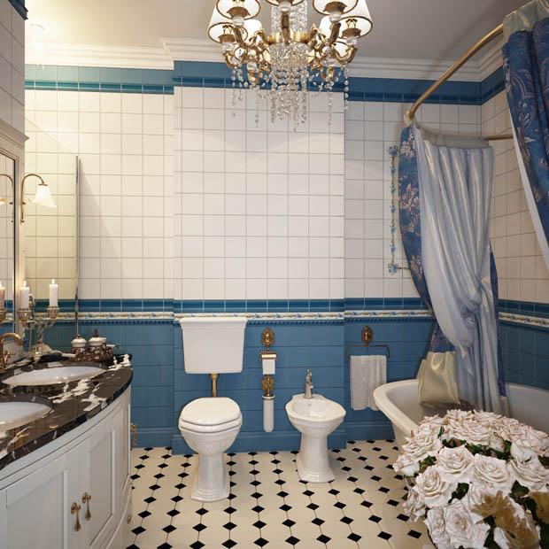 กระเบื้องห้องน้ำสีฟ้า