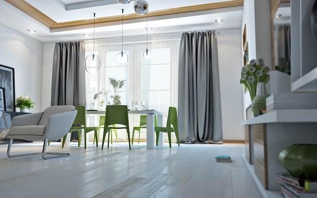 เก้าอี้นั่งทานข้าวสีเขียว