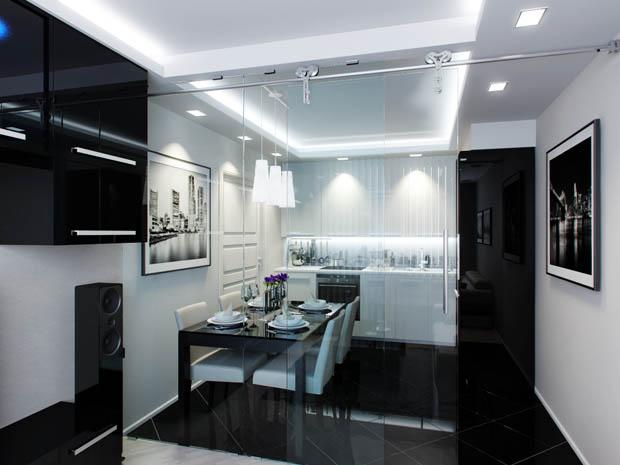 เพดานผนังห้องครัวทาสีขาว