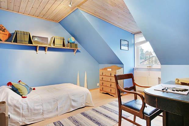ห้องนอนสีฟ้าสดใส