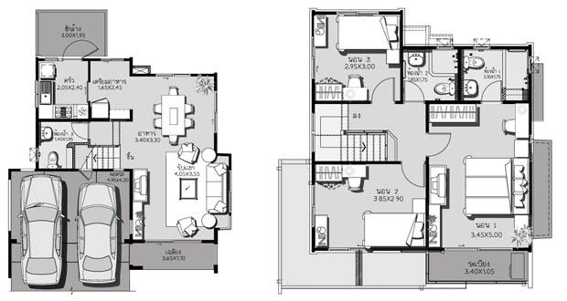 แปลนบ้านจัดสรร บ้านเดี่ยว 2 ชั้น