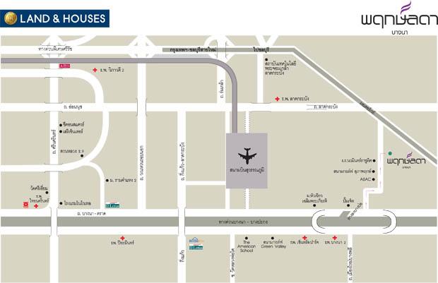 แผนที่ โครงการ พฤกษ์ลดา บางนา แลนด์แอนด์เฮ้าส์ฟ