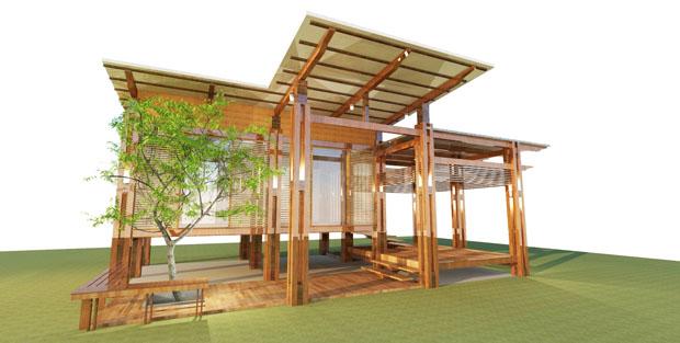 ออกแบบบ้านไม้ ทรงโมเดิร์น