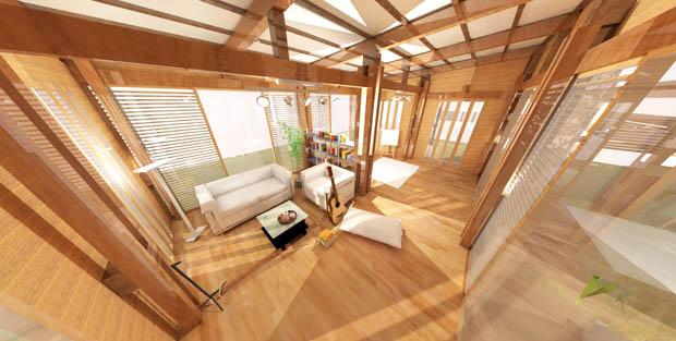 ออกแบบภายในบ้านไม้ 3D