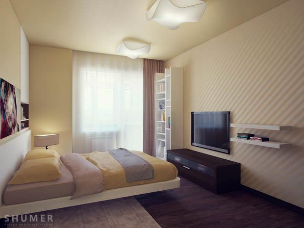 ห้องนอนสีครีม
