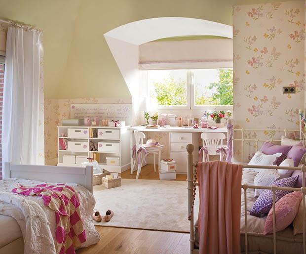 ภาพห้องนอนน่ารัก สไตล์วินเทจ