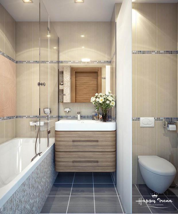 ห้องน้ำเล็กๆ มีอ่างอาบน้ำ สวย เรียบ เฉียบ คม บ้านไอเดีย