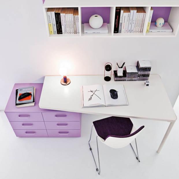 ไอเดียห้องทำงาน สีม่วงขาว
