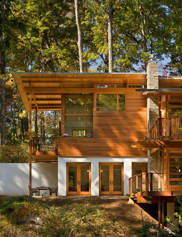 แบบบ้านสองชั้น ปูนผสมไม้