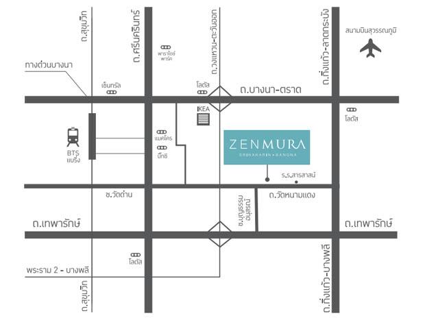 แผนที่ทางไป โครงการ Zenmura บางนา ตราด