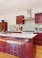 เคาน์เตอร์ห้องครัว สีแดง ขาว