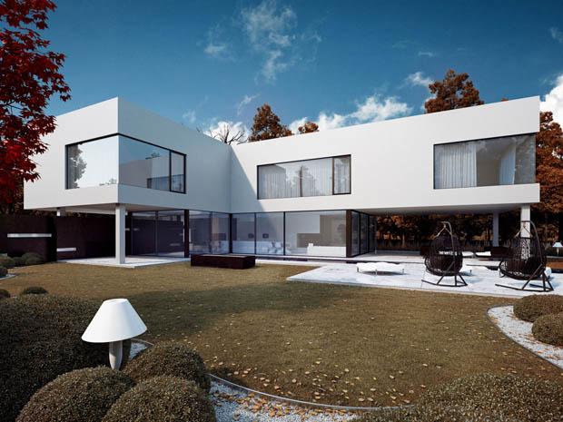 แบบบ้านรูปทรงตัวแอล สองชั้น