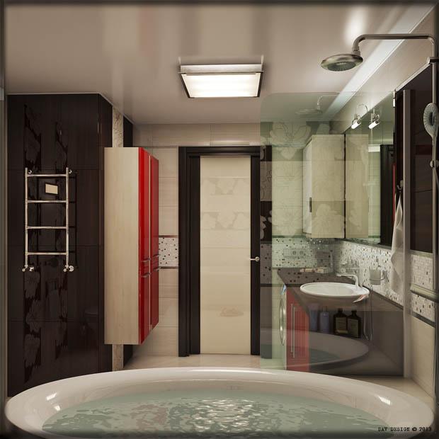 แต่งห้องน้ำด้วยสีแดง