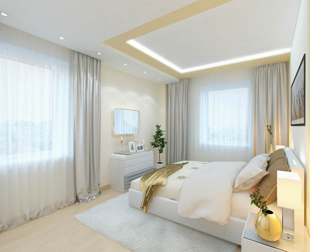 เตียงนอนสีขาว