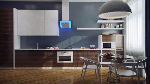 แบบห้องครัวสีน้ำเงิน