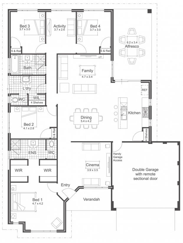 - House plans for four bed room houses ...