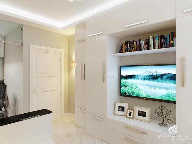 ชั้นวางทีวีสีขาว