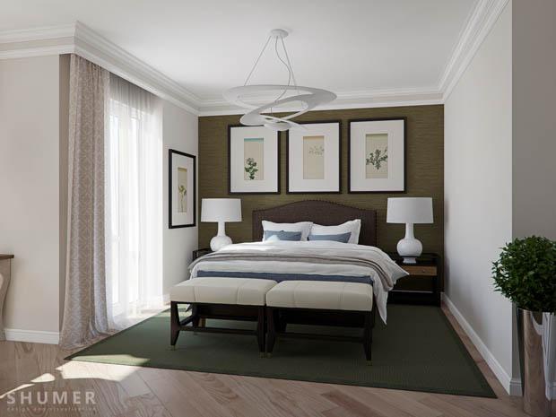 ผนังห้องนอนสีเขียว